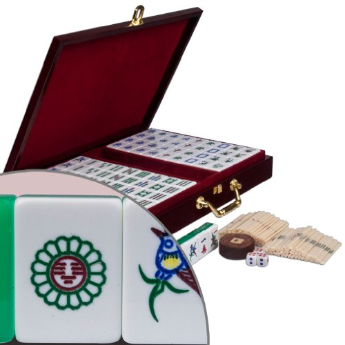 Chinese Mahjong Game Set with Case, Tiles, and Accessories, The Standard ''Emerald'' Set by Yellow Mountain Imports