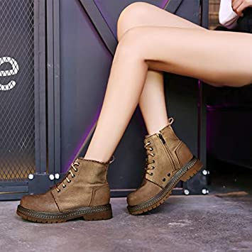Shukun Botines Zapatos de Mujer High-Top Martin Boots Otoño Retro Grueso Grueso con Banda Alta: Amazon.es: Deportes y aire libre