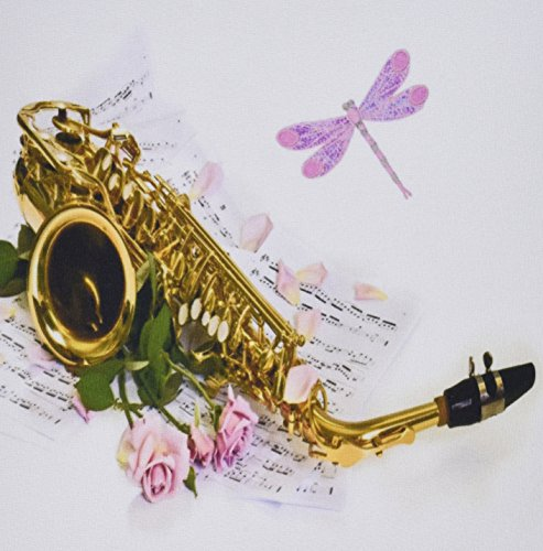 Price comparison product image 3dRose LLC 8 x 8 x 0.25 Inches Mouse Pad, Image of Saxophone with Roses and Dragonfly on Music Sheet (mp_163534_1)