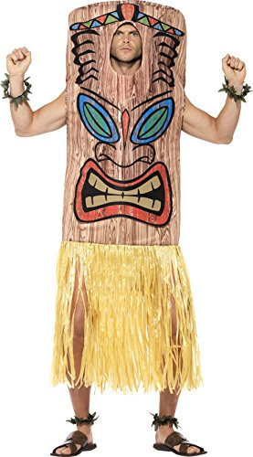 [Smiffy's Men's Tiki Totem Costume, Tabard, Attached Skirt, Wrist and Ankle Cuffs, Hawaiian Luau, Serious Fun, One Size,] (Hawaiian Costumes For Adults)