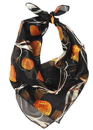 Womens Hollween Pumpkin and Ghost Print Satin Scarf