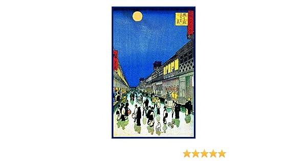 Japanese Hiroshige Tokyo Night Street Scene Counted Cross Stitch Pattern