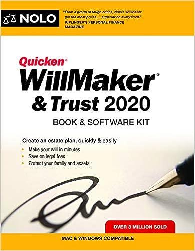 Quicken 2020 Review.Quicken Willmaker Trust 2020 Book Software Kit Editors