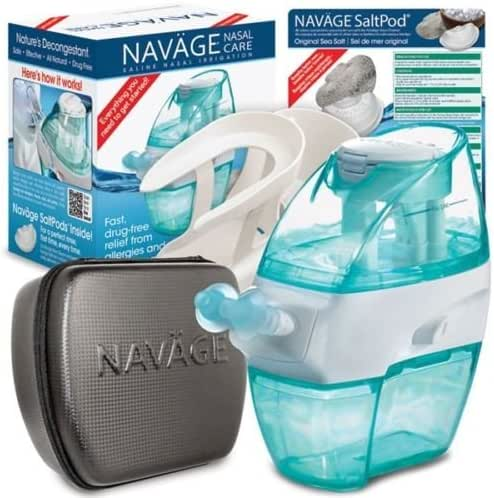 Navage Nasal Care Deluxe Bundle: Naväge Nose Cleaner, 38 SaltPod Capsules, Countertop Caddy, and Travel Case. 139.85 if Purchased Separately. You Save 29.90 (Black)