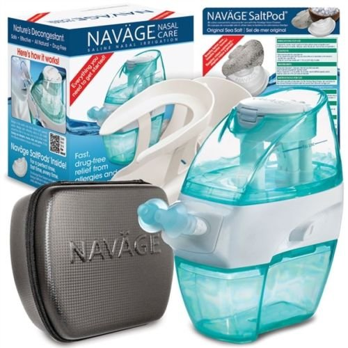 Navage Nasal Care Deluxe Bundle: Naväge Nose Cleaner, 48 SaltPod Capsules, Countertop Caddy, and Travel Case. 139.80 if Purchased Separately. You Save 19.85 (Black) by Navage
