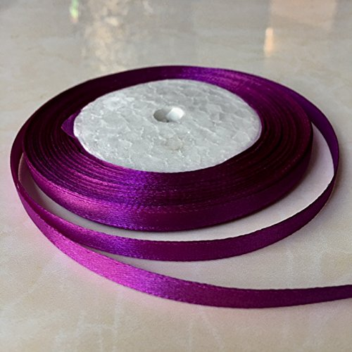 3/8'' One Roll Single Face Satin Ribbon in Violet Price Per Roll/ 25 Yards, Available in 23 Colors