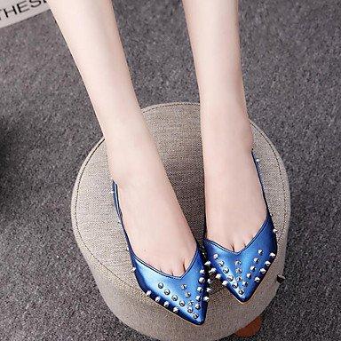 Cómodo y elegante soporte de zapatos de las mujeres pisos comodidad bailarina piel de primavera verano otoño al aire libre Casual soporte de talón con lazo y cremallera azul plata Walking plata