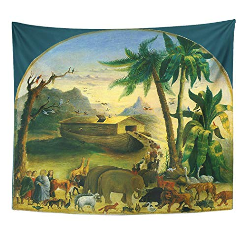 Semtomn Tapestry Artwork Wall Hanging History Vintage Victorian Folk Noah Ark by Forest Animals 60x80 Inches Tapestries Mattress Tablecloth Curtain Home Decor Print