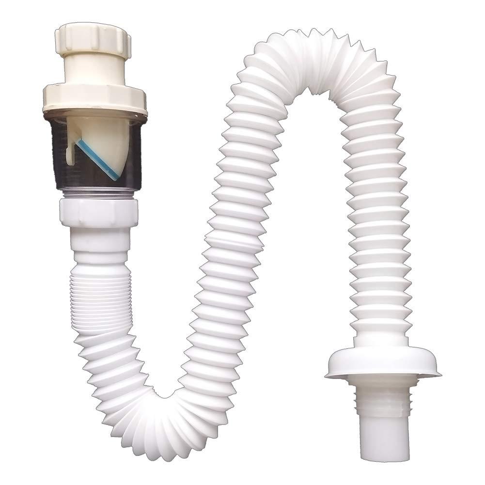 BERKET Insect Proof And Odor-Resistant Flexible Universal Sink Drain Pipe Wash Basin S Tube Down Pipe (full set)