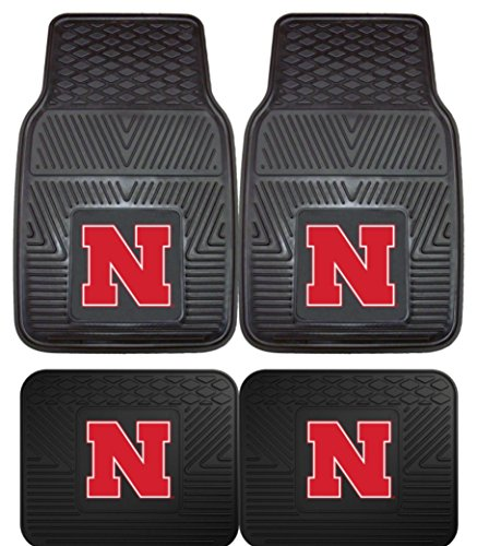 Pacific Mats Car (Officially Licensed NCAA Set of Universal Fit Front and Rear Rubber Automotive Floor Mats - Nebraska Cornhuskers)