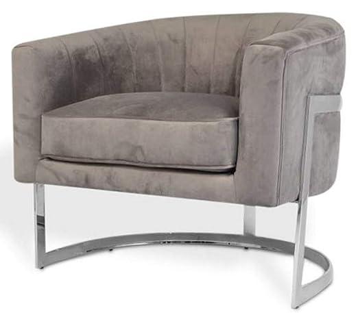 Casa Padrino sillón de Terciopelo Gris/Plata 70 x 66 x H. 68 ...