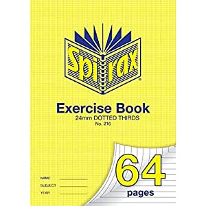SPIRAX Dotted 216 A4 11mm Dotted Thirds Exercise Book, 64 Pages, (56216)