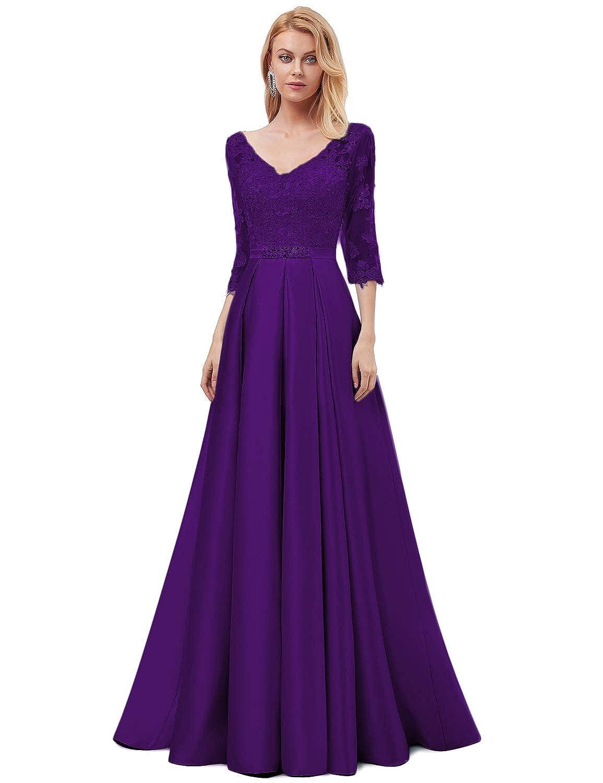 OYISHA Womens Long Lace Evening Dresses with 3//4 Sleeve Formal Beaded Satin A-Line Wedding Bridesmaid Dress EV29
