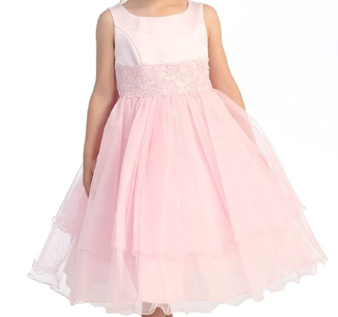 Little Girls Primera Comunión Encaje Flores de tul vestidos de niña