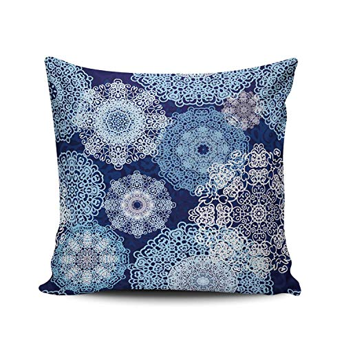 AIHUAW Home Decorative Cushion Covers Throw Pillow Case Snowflakes Blue Pillowcases Square 24x24 Inches Double Sided Printed (Set of 1)