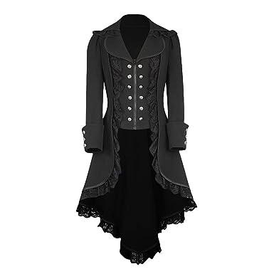LuckyGirls Manteau Femme Automne Hiver Vintage Punk Gothique Noble Manteau  Mode Chic Boutons Ourlet Asymmetric Classic Machaon Trench Coat  Amazon.fr   ... 467d84d4504