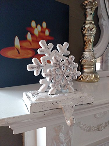 Snowy Snowflake Metal Stocking Holders - Cast Iron