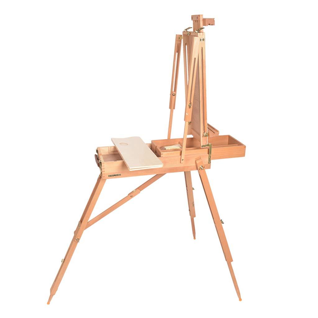 絵画イーゼル木製の絵画箱ポータブルポータブルスケッチ油絵フレーム油絵ツールボックス無垢材   B07S23K2X8