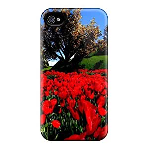 4/4s Scratch-proof Protection Case Cover For Iphone/ Hot Beautiful Red Flowers Phone Case