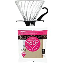 Hario V60 Glass Dripper, Measuring Spoon & 100 Filters All Sold Together