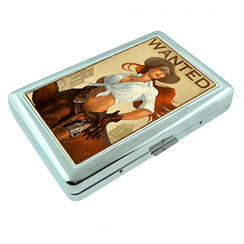 Cowgirls Pin Up Girls Country USA S14 Silver Cigarette Case Metal Wallet Id Holder King & 100's 4