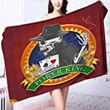 PRUNUS Extra Large Bath Towel Background with Dead Skeleton Poker King Gambler Vegas Smart Game Graphic Multicolor Easy Care Machine wash
