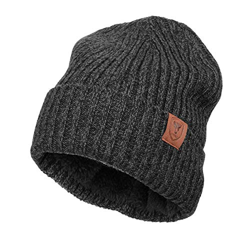 Beanie Ski Cap Winter Hat - OZERO Winter Knit Hat Beanie Warm Polar Fleece Ski Stocking Cap for Men and Women