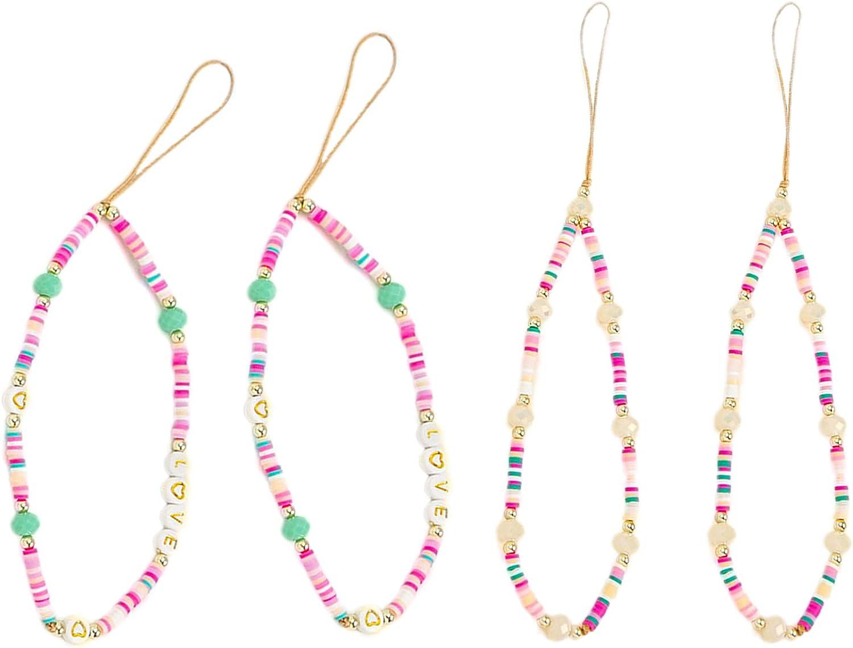 Staqlo 4Pcs Mobile Phone Lanyard Wrist Strap Handmade Girly Style Fixed Beads