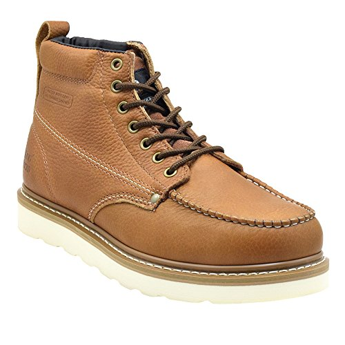 King Rocks Men's Moc Toe Construction Boots Work Shoes 8 D(M) Brown