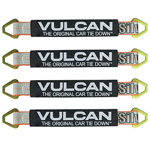VULCAN Silver Series 1-Ply Flexible Auto Tie Down Axle Strap w/Wear Pad (2 x 22 - Pack of 4) Safe Working Load - 3,300 lbs.