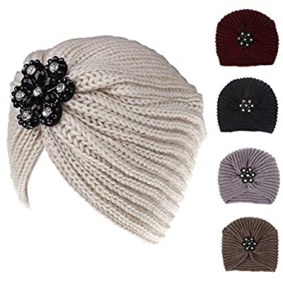 Hat for Women with Cancer, Women Ladies Solid Color Rhinestone Knited Headgear Beanie Tail Hat Cap,Skin Care Sets & Kits