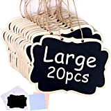 20 Pack Hanging Chalkboards Signs, 6.3 x 4.7 Inch Mini Chalkboards Signs with Chalkboard Labels, Message Board Signs for Wedding or Party Decorations