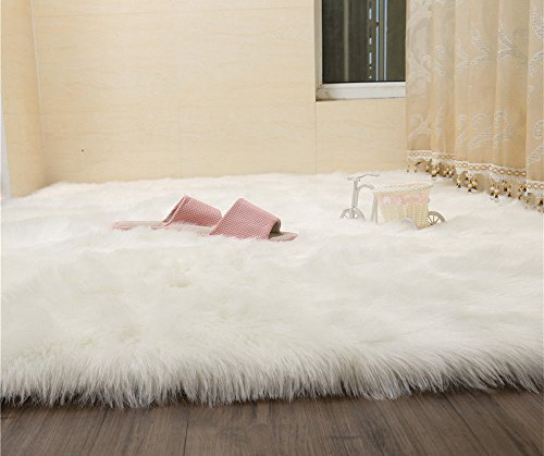 Soft Indoor Modern Area Rugs Faux Fur Sheepskin Rug Fluffy Living Room Carpets Stylish Home Décor Accent for Room Bedroom Nursery Bath Sofa Couch Stool Casper Vanity Chair Cover (Wool Douglas 100%)