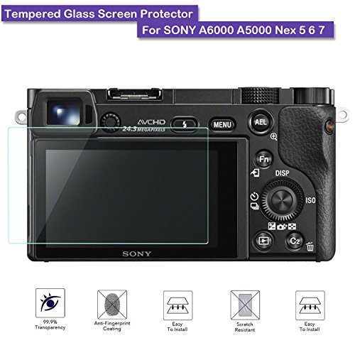 MOTONG LCD Tempered Glass Screen Protector For SONY A6000 A5000 Nex 5 6 7,9 H Hardness,0.3mm Thickness,Made From Real Glass (Tempered Glass) (Screen Protector For Sony A6000)