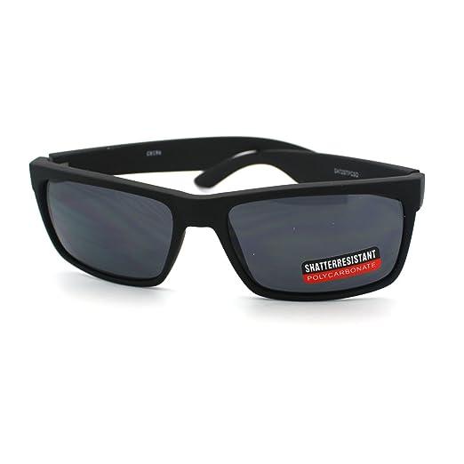 83000efcfa Black Classic Rectangular Sunglasses Mens Casual Fashion Soft Matte Finish