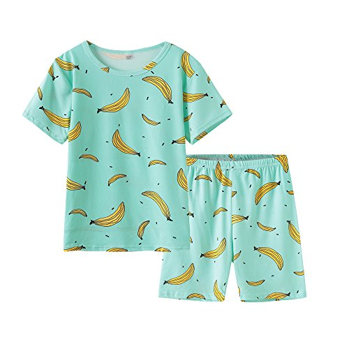 Girls Pajamas Pjs - MyFav Girls Cute Banana Summer Pajama 2 Pieces Casual Sleepwear 6-14 Years Child