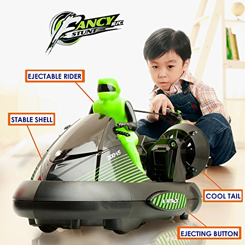 ToyThrill 2 Pack Remote Control Bumper Cars – Two Player Stunt RC Toy with Ejectable Drivers and Crash Sounds - Batteries and Adapter Included – Green and Red by ToyThrill (Image #3)