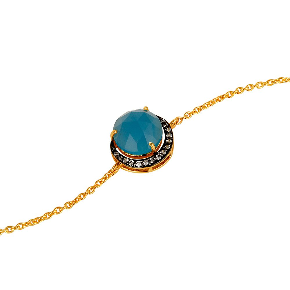 Dhruvansh Creations 18k Gold Plated Blue Chalcedony Bracelet CZ Gemstone Jewelry Christmas Gift