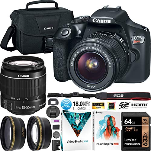 Canon EOS Rebel T6 Digital SLR Camera Kit with EF-S 18-55mm F3.5-5.6 is II Lens Kit Gadget Bag Case + 0.43x Wide Angle Lens + 2.2X Telephoto Lens + 64GB Card + Photo Video Software Bundle