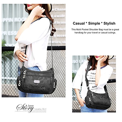 1 Messenger Water Shoulder Anti Bags Able Bag Crossbody black Casual Splash n4zYxa