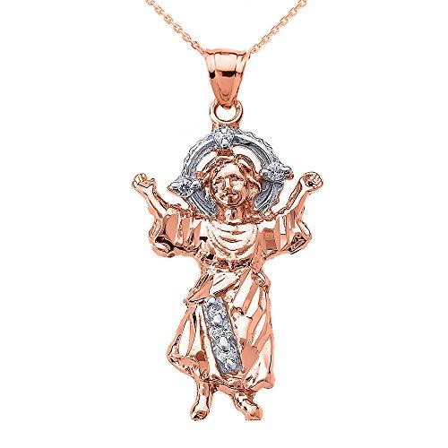Collier Femme Pendentif 10 Ct Or Rose Bébé Jésus Oxyde De Zirconium (Livré avec une 45cm Chaîne)
