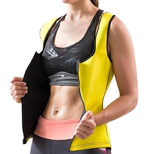 Gilet de sport femme sudation sauna néoprène jaune, accessoire sport minceur