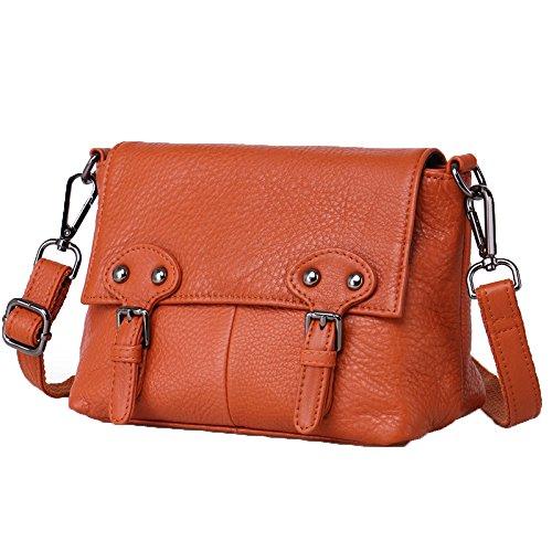 First Shoulder Messenger Handbags Bag New Leather Orange Handmade Layer Package Diagonal Leather fwSBwqTx