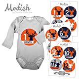 12 Monthly Baby Stickers, Deer, Antlers, Boy, Baby Belly Stickers, Baby Month Stickers, First Year Stickers Months 1-12, Chevron, Orange, Hunter Orange, Blue, Navy, Gray, Grey, Woodland, Baby Boy