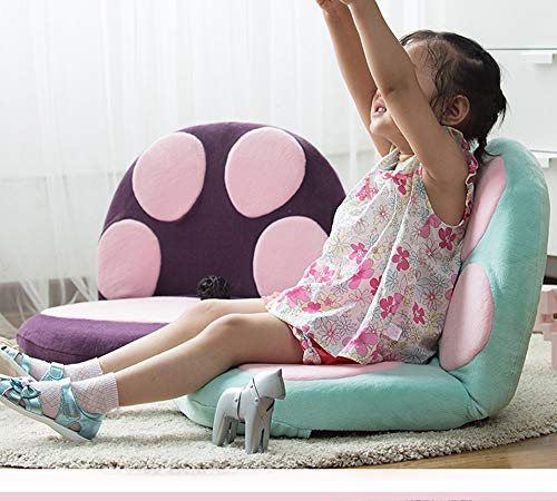 Yilian Zuodian Cute Cartoon cat Claw Pattern Children's Sofa Bay Window Chair Baby seat Japanese-Style Tatami Floor Foldable Adjustment Small Sofa Flannel Cushion (Color : Blue) by Yilian (Image #7)
