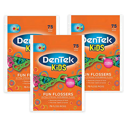 Dentek Kids Fun Flossers with Advanced Fluoride Coating | Removes Food & Plaque | Wild Fruit Flavored Floss Picks | 75 Count | Pack of -