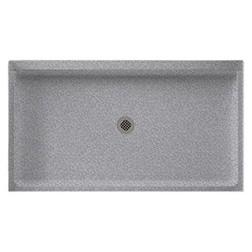 (Swanstone SF03460MD.042 Solid Surface Center Drain Shower Base, 60-in L X 34-in H X 5.5-in H, Gray Granite)