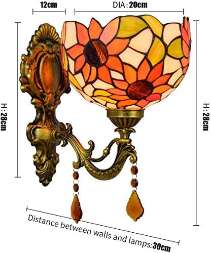 NEXFAN Retro Gorgeous Tiffany Wall Sconce Ligh 8 Inch British Modern Creative Wall Lamp Bathroom Mirror Headlights Garden Crystal Bedside Wall Lamp Aisle Sun