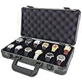 Watch Storage Case Aluminum Metal Briefcase for 12 Large Watches (Gunmetal Grey)