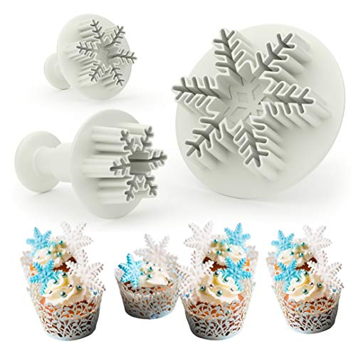 Snowflake Cookie Cutter Set - Decorating Mold Shaped as Frozen Snowflakes, Cake and Cupcake Decorating Mold, Fondant Cookie Cutters Embossing Tool Snowflake Plunger Cutter -